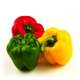Three sweet peppers on white Stock Image
