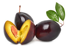 Three sweet plums Stock Photo