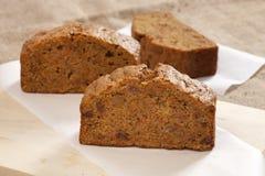 Three sweet slices of carrot cinnamon cake stock photo