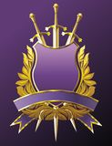 Three swords. Heraldry emblem with crown, shield and three swords Stock Photo