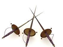 Three swords. Three weapons honor swords. 3d stock illustration