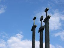 Three swords at Hafrsfjord Stock Photography