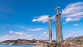 "The three swords ""Sverd i Fjel"". The three swords ""Sverd i Fjel"", Stavanger, Norway Royalty Free Stock Photo"