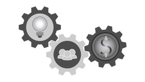Three symbols in gears, light bulb idea, doing teamwork, money coin, gray scale color. Flat icon illustration vector of three symbols in gears, light bulb idea stock illustration