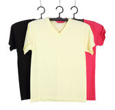 Three t-shirt template on hange isolated on white Royalty Free Stock Image