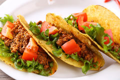 Three taco shells on the plate. Three spice taco shells on the plate Stock Images
