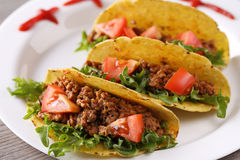 Three taco shells on the plate Royalty Free Stock Image