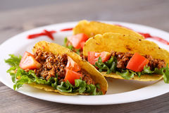 Three taco shells on the plate Stock Image