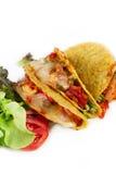 Three tacos seafood Royalty Free Stock Photo