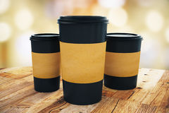 Three take away coffee cups Royalty Free Stock Photography