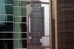 Three Tall Office Buildings. Three skyscrapers in Hong Kong Royalty Free Stock Image
