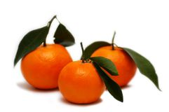 Three Tangerines Royalty Free Stock Photography