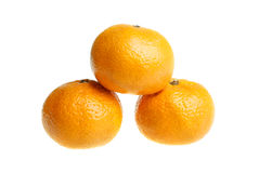 Three tangerines (mandarins) Stock Photos