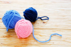 Three tangle of colored thread Stock Photos