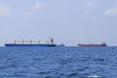 Three tankers in black sea Royalty Free Stock Images