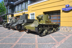 Three tanks 30-ies of the XX century technique museum Vadim Zadorozhnogo. Arkhangelskoe, Moscow Region, Russia Stock Image