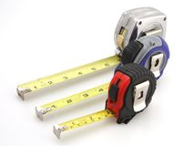 Three Tape Measure Royalty Free Stock Photography