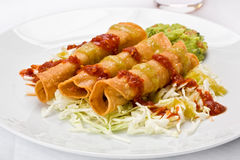 Three Taquitos Stock Photo