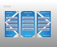 Three tariffs banners. Web pricing table. Vector design for web app. Price list. Grouped correctly. Vector illustration. vector illustration