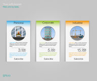 Three tariffs banners.   Web pricing table. Vector design for web app. Price list. Business tariff banners. Stock Image