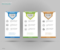 Three tariffs banners.  Web pricing table. Vector design for web app. Set offer tariffs. Price list. Stock Image