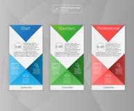 Three tariffs banners. Web pricing table. Vector design for web app. Set tariffs. Plan for website in flat design. Royalty Free Stock Photography