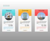 Three tariffs banners. Web pricing table. Vector design for web app. vector illustration