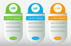 Three tariffs. UX Interface for the site. Vector banner for web app. Pricing table, banner, order, box, button, list and bullet wi vector illustration