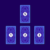 Three tarot card spread. Reverse side Royalty Free Stock Photography