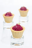 Three tartlets with beetroot mousse and goat cheese Stock Images