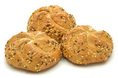 Three tasty buns isolated on white Royalty Free Stock Photos