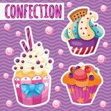 Three tasty cakes on a pink background Royalty Free Stock Photos