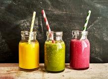 Three tasty fresh healthy smoothies Stock Image