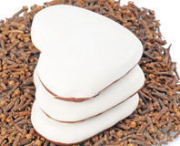 Three tasty spice-cake lie on cloves Stock Images