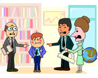 Three teachers and bad student. Three angry teachers discussing arrogant boy student in classroom royalty free illustration