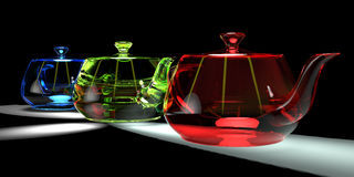 Three teapots in RGB. Composition Stock Images