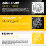 Three techno banners / backgrounds with abstract isometric icons. Stock Images