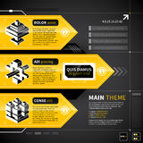 Three techno banners with text and isometric icons. Stock Image