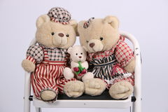 Three teddy bears stock photography