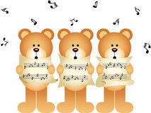 Three teddy bears choir singing Royalty Free Stock Photos
