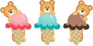 Three teddy bears eating ice cream Stock Photography
