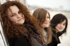 Three teen girlfriends at outdoor Stock Image