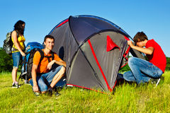 Three teenage backpackers Royalty Free Stock Photography