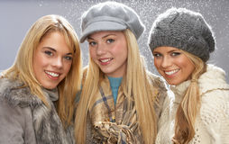 Three Teenage Girls Wearing Knitwear In Studio Royalty Free Stock Photography
