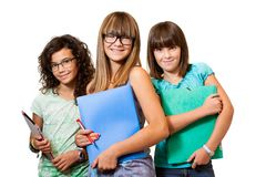Three teenage students isolated. Stock Photo