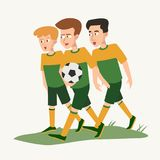 Three teenagers with ball in the form of soccer players Stock Photography