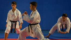 Three teenagers doing warm up before martial the arts competition stock video footage