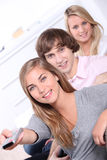 Three teenagers at home Royalty Free Stock Photography