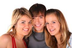 Three teengers friends on white stock photos