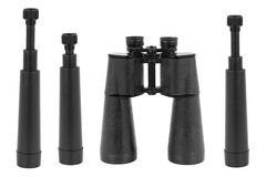 Three telescopes and binoculars Stock Image